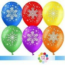 Гелиевые шары с рисунком «Ассорти снежинок»