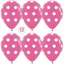 Гелиевые шары с рисунком «Белый горох на розовом»