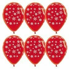 Гелиевые шары с рисунком «Белые снежинки на красном»