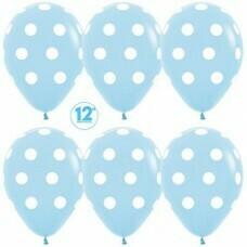 Гелиевые шары с рисунком «Белый горох на голубом»