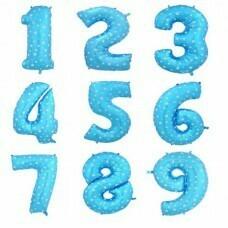 Цифра фольгированная гигантская детская, голубой