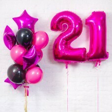 Композиция из воздушных шаров «Важная дата 21 в цвет Фуше» №120 (Цифра на выбор)