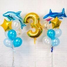 Композиция из воздушных шаров «Важная дата Акулы» №124 (Цифра на выбор)