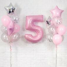 Композиция из воздушных шаров «Важная дата 5 Девочка» №121 (Цифра на выбор)