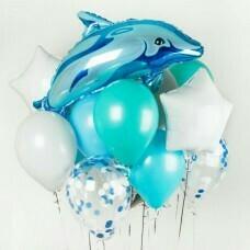 Композиция из воздушных шаров «Водная игра, Дельфин» №157