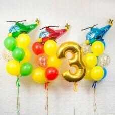 Композиция из воздушных шаров «День рождения Мальчика Вертолётная команда» №127