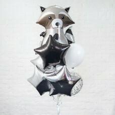 Композиция из воздушных шаров «Енот» №34