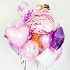 Композиция из воздушных шаров «Розовый Фламинго» №162