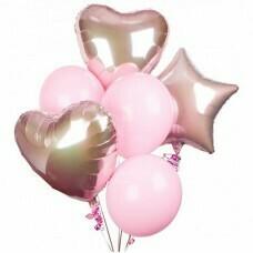 Композиция из воздушных шаров «Сердечно-розовая» №26