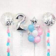 Композиция из воздушных шаров «Важная дата 2 Девочка» №117 (Цифра на выбор)