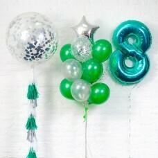 Композиция из воздушных шаров «Важная дата 8 Мальчик» №118 (Цифра на выбор)