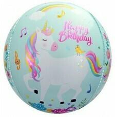 Шар (24''/61 см) Сфера 3D, С Днем Рождения (волшебные единороги), Бирюзовый
