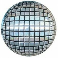 Шар (24''/61 см) Сфера 3D, Диско, Серебро, Голография