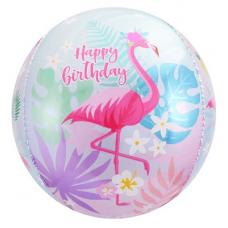 Шар (24''/61 см) Сфера 3D, С Днем Рождения (фламинго)