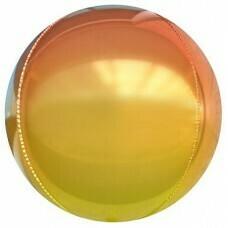 Шар (24''/61 см) Сфера 3D, Оранжевый, Градиент