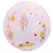 Шар (24''/61 см) Сфера 3D, С Днем Рождения (волшебные единороги), Розовый