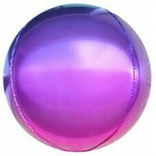 Шар (24''/61 см) Сфера 3D, Фиолетовый/Фуше, Градиент