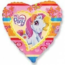 Воздушный шар (18''/46 см) Сердце, Моя маленькая пони Pony