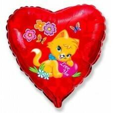 Воздушный шар (18''/46 см) Сердце, Влюбленный котенок, Красный