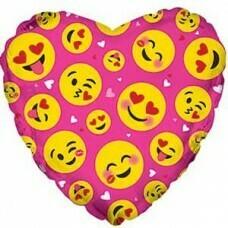 Воздушный шар (18''/46 см) Сердце, Влюбленные смайлы, Розовый