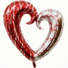 Фигура из Фольги «Сердце Красный-Серебро» (109см.)