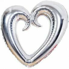 Фигура из Фольги «Сердце» Серебро (102см.)