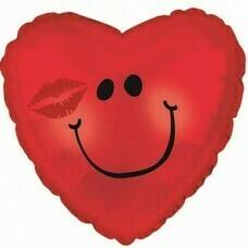 Фольгированное сердце «Смайл с поцелуем» (46см.)