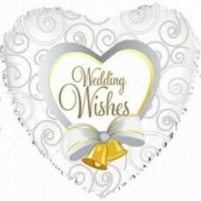 Фольгированное сердце «Wedding Wishes» (46см.)