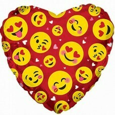 Фольгированное сердце «Влюблённые смайлики» Красный (46см.)
