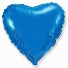 Фольгированное сердце «Синий» (46см.)