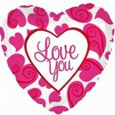 Фольгированное сердце «i Love You» неон (46см.)