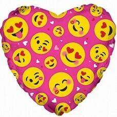 Фольгированное сердце «Влюблённые смайлы» Розовый (46см.)
