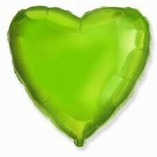 Фольгированное сердце «Лайм» (46см.)