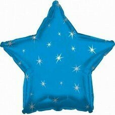 Фольгированная звезда «Искры» Синий (46см.)