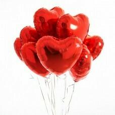 Композиция из воздушных шаров «Сердца красные» 9 шт. №183
