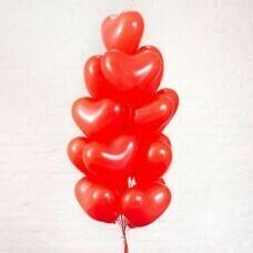 Композиция из воздушных шаров «Сердца красные » 17 шт. №184