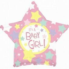 Фольгированная звезда «Baby Girl» Розовый (46см.)