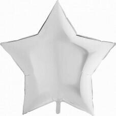 Фольгированная звезда «Белая» (46см.)