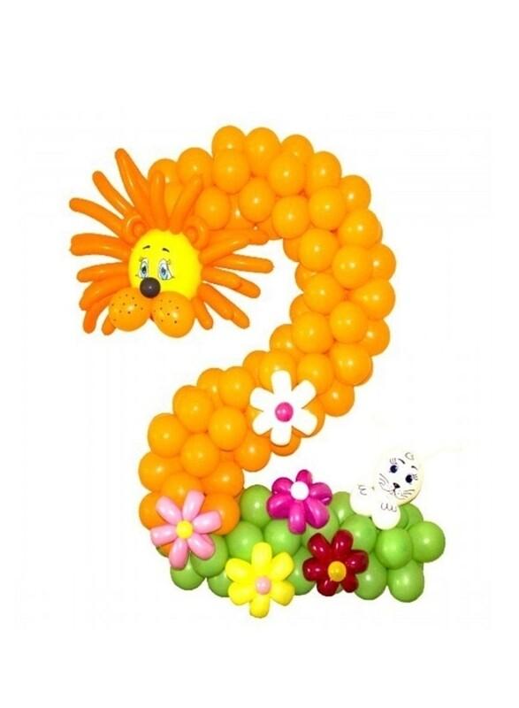 Цифра из шаров 2 жёлтая