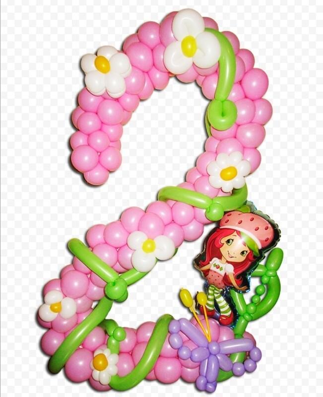 Цифра из шаров 2 с клубничкой
