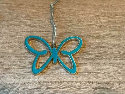 Teal Butterfly Christmas Tree Ornament