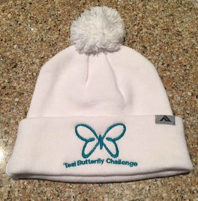 Teal Butterfly Winter Hat