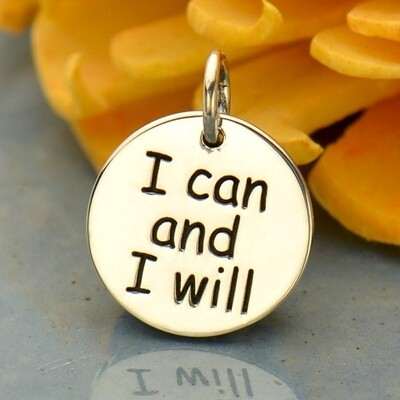 Sterling Silver Motivational Fitness Pendant Charm - I Can and I Will