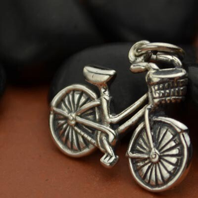 Sterling Silver Bicycle Fitness Jewelry Charm Necklace