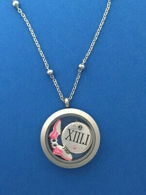Stainless Steel Round Locket Half Marathon Necklace