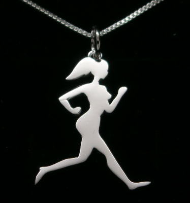 Sterling Silver Runner Girl Silhouette Necklace