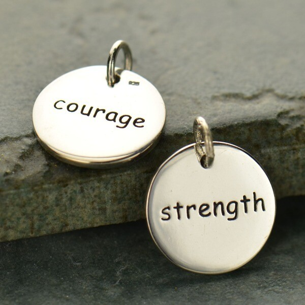 Sterling Silver Courage/Strength Round Word Charm
