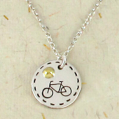 """Bicycle Charm Necklace on 18"""" Sterling Silver Chain"""