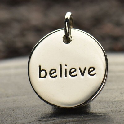 Sterling Silver Believe Round Word Charm