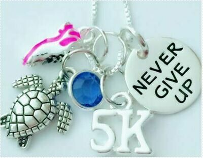 5K/10K Never Give Up Necklace with Turtle and Running Shoe Charms